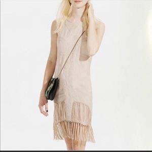STARING AT STARS    tan fringe mini dress size XS